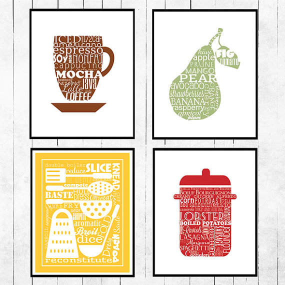 Black And White Kitchen Art With Wooden Frame Eight Swatches