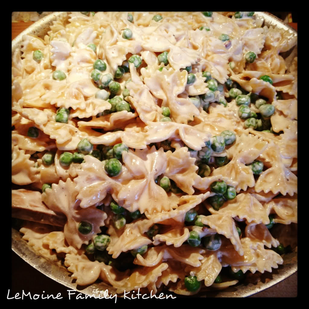 Farfalle & Peas in a Light Cream Sauce