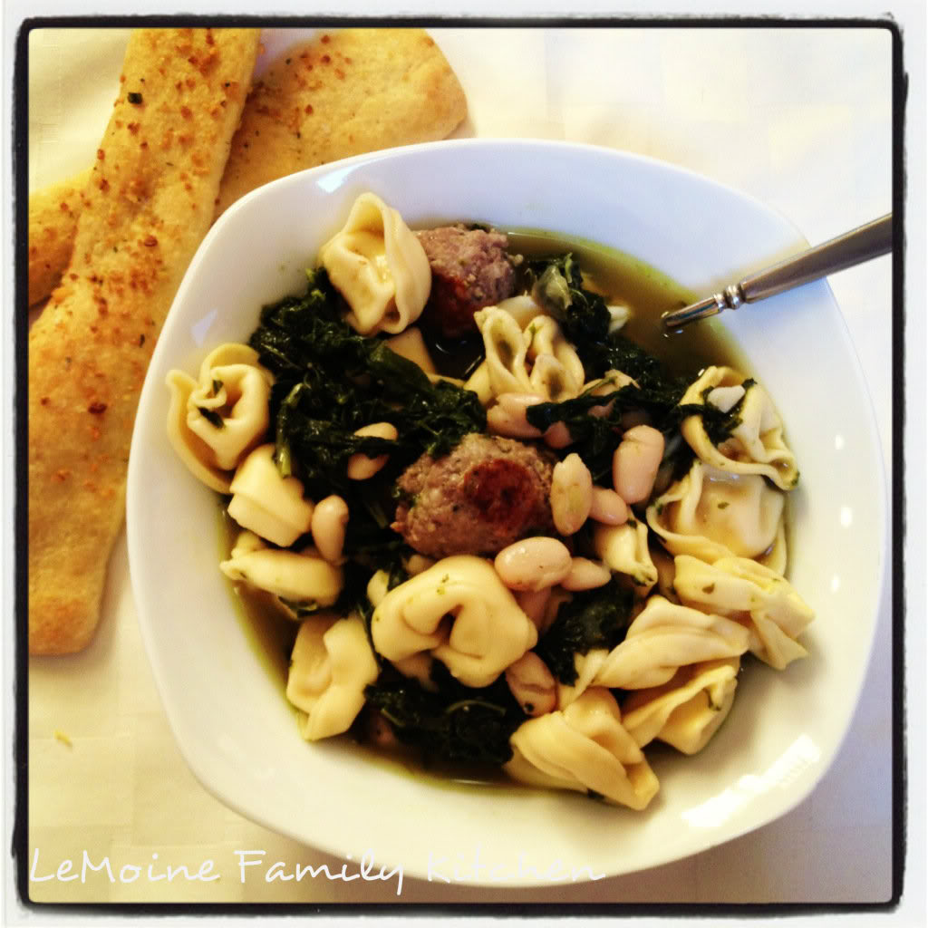 Tortellini with Kale, Cannellini Beans and Sausage in Broth