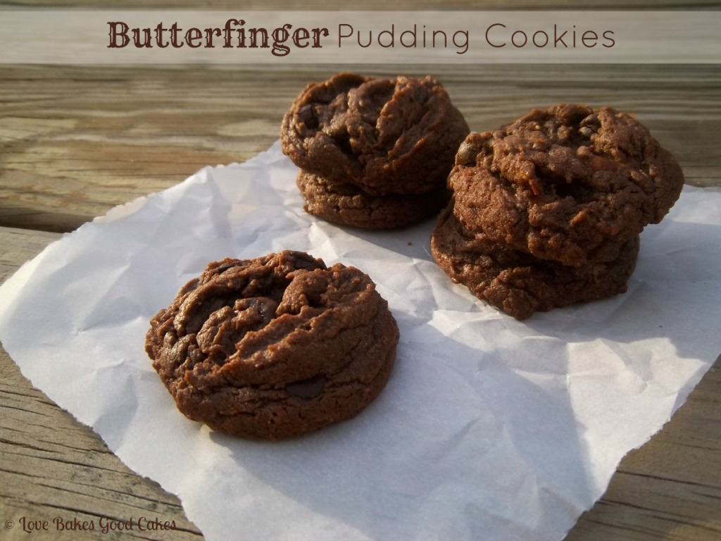 Butterfinger Pudding Cookies. Whats not to just love about these AMAZING cookies!! Ya'll need to try this one. Chocolate peanut butter perfection!