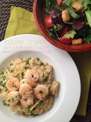 Shrimp Scampi Over Spring Veggie Risotto