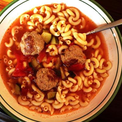 Italian Zucchini, Tomato & Turkey Meatball Soup