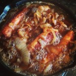 Beer Braised Chicken Sausage & Onions