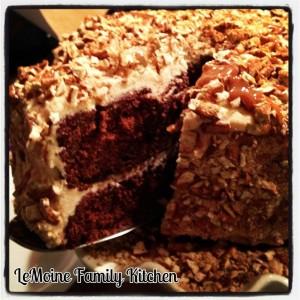chocolate cake caramel buttercream pretzel bits