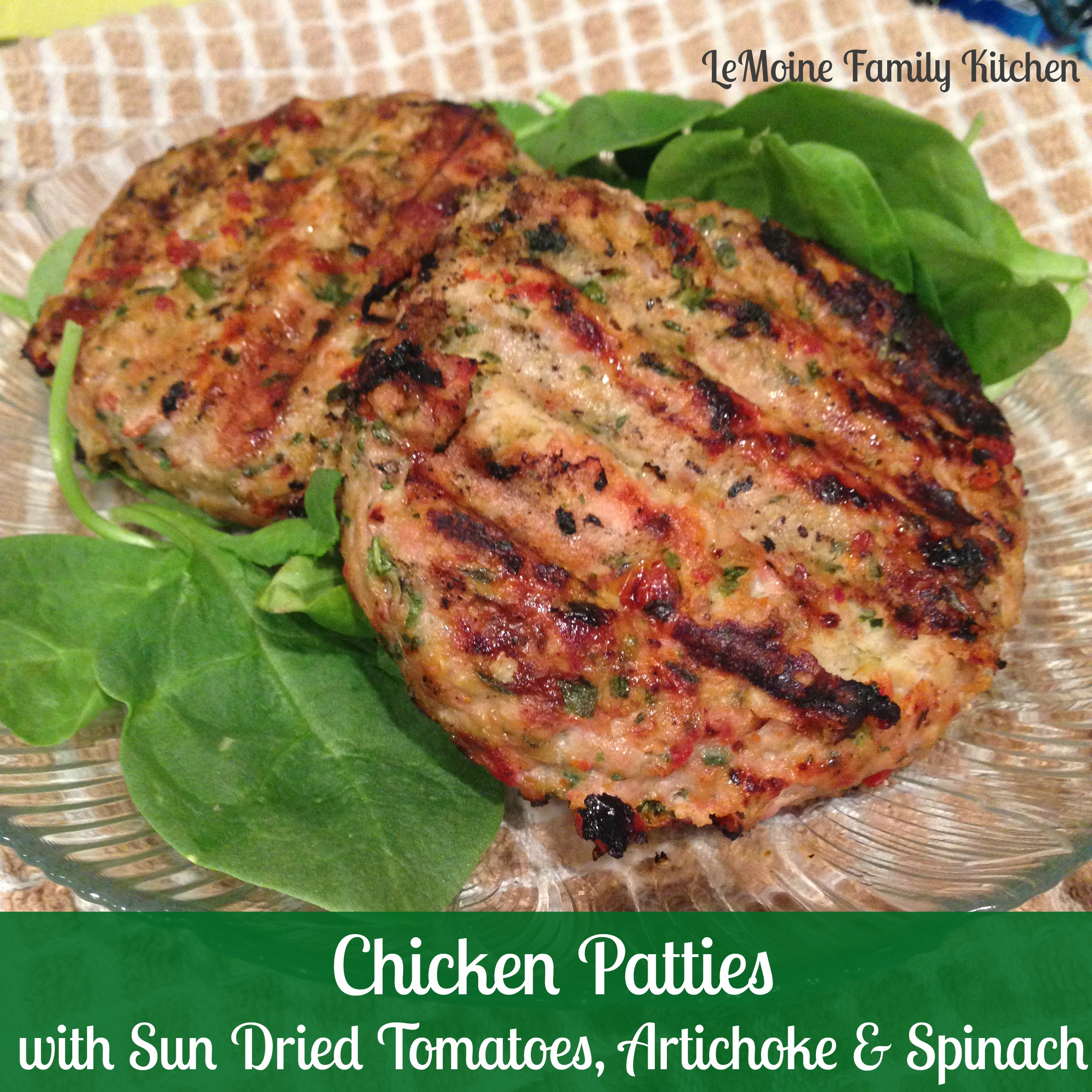 Chicken Patties with Sun Dried Tomatoes, Artichoke Hearts & Spinach ...