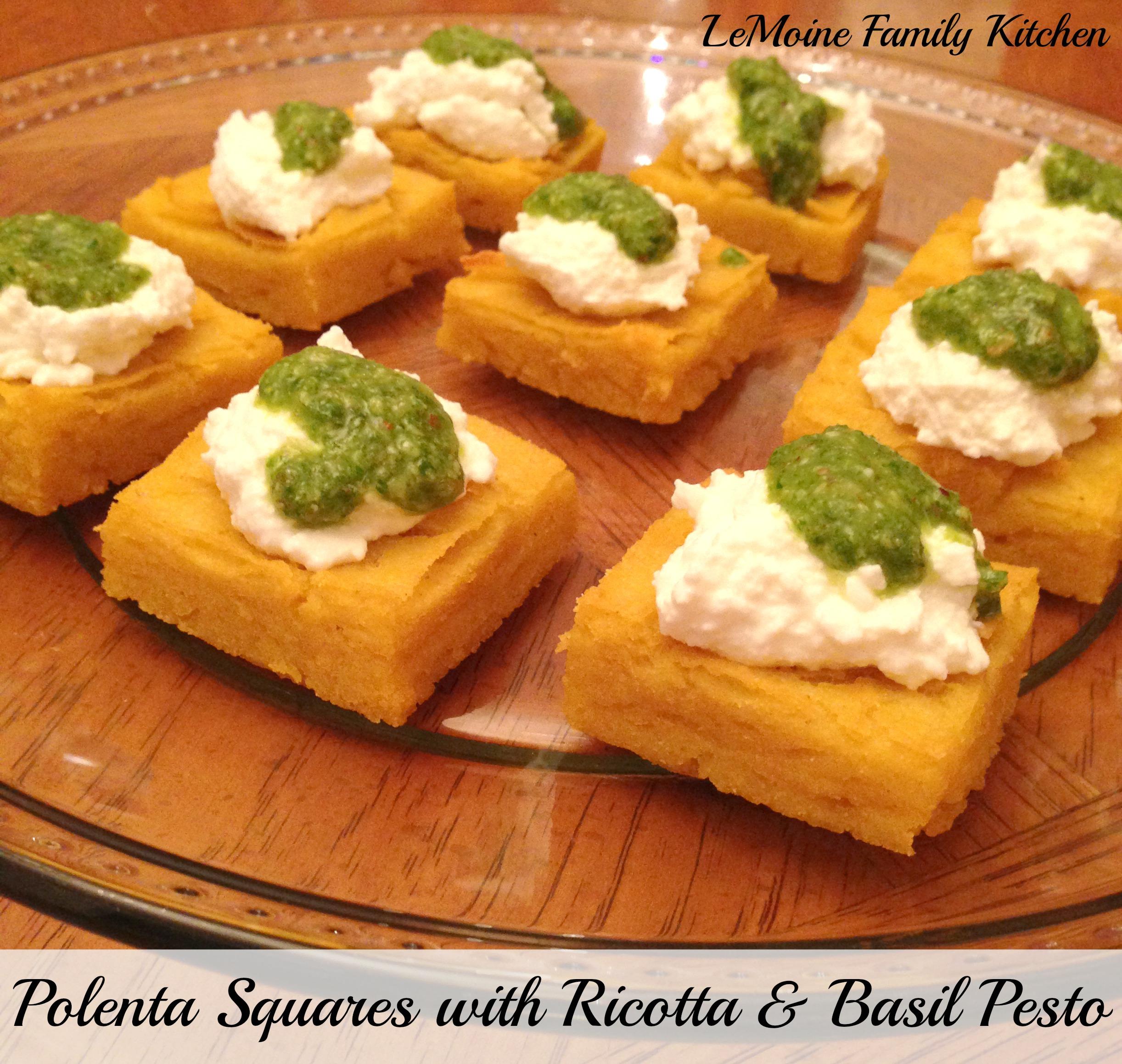 Polenta Squares with Ricotta & Basil Pesto
