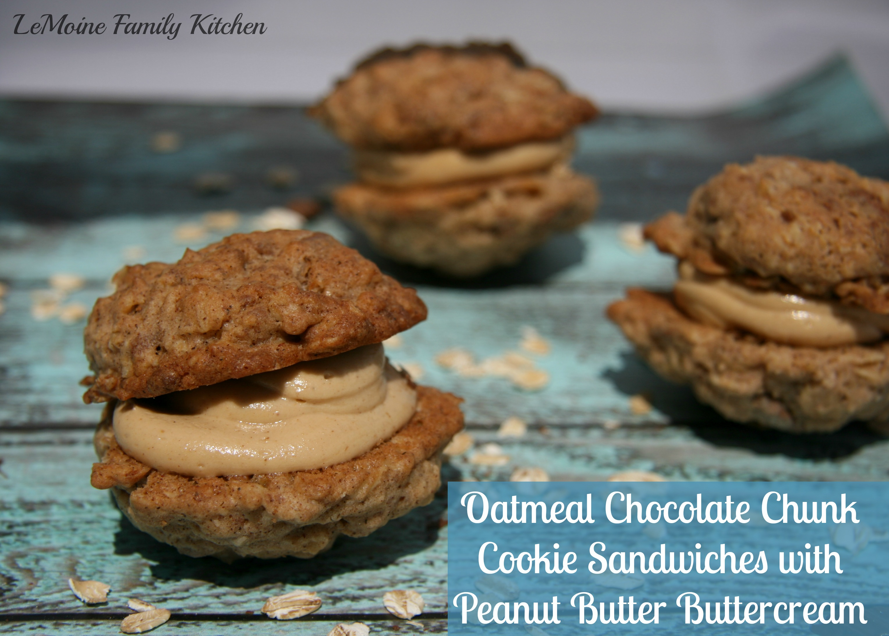 Oatmeal Chocolate Chunk Cookie Sandwiches with Peanut Butter Buttercream