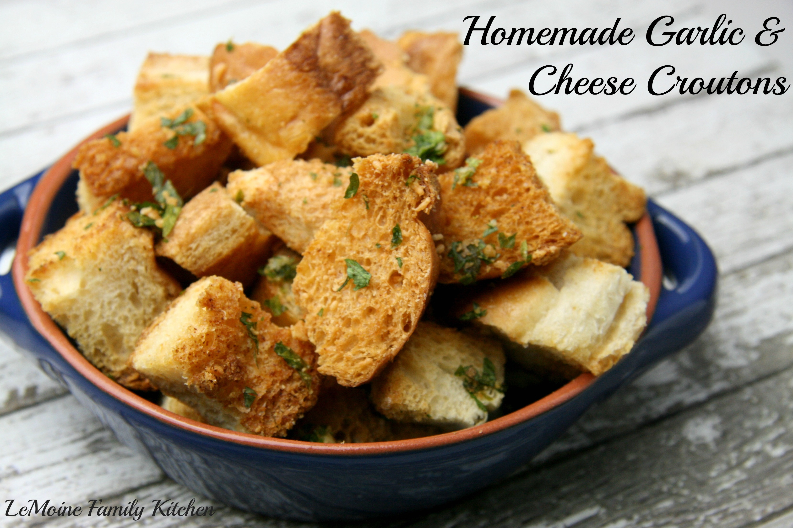 Homemade Garlic & Cheese Croutons
